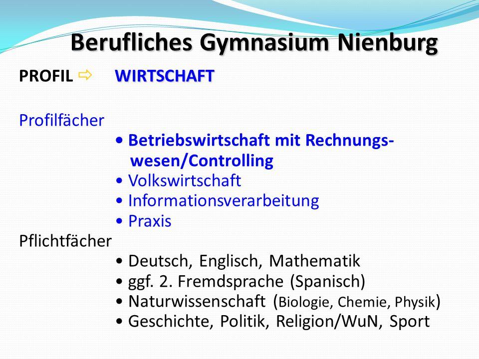 WIRTSCHAFT PROFIL  WIRTSCHAFT Profilfächer Betriebswirtschaft mit Rechnungs- wesen/Controlling Volkswirtschaft Informationsverarbeitung Praxis Pflich