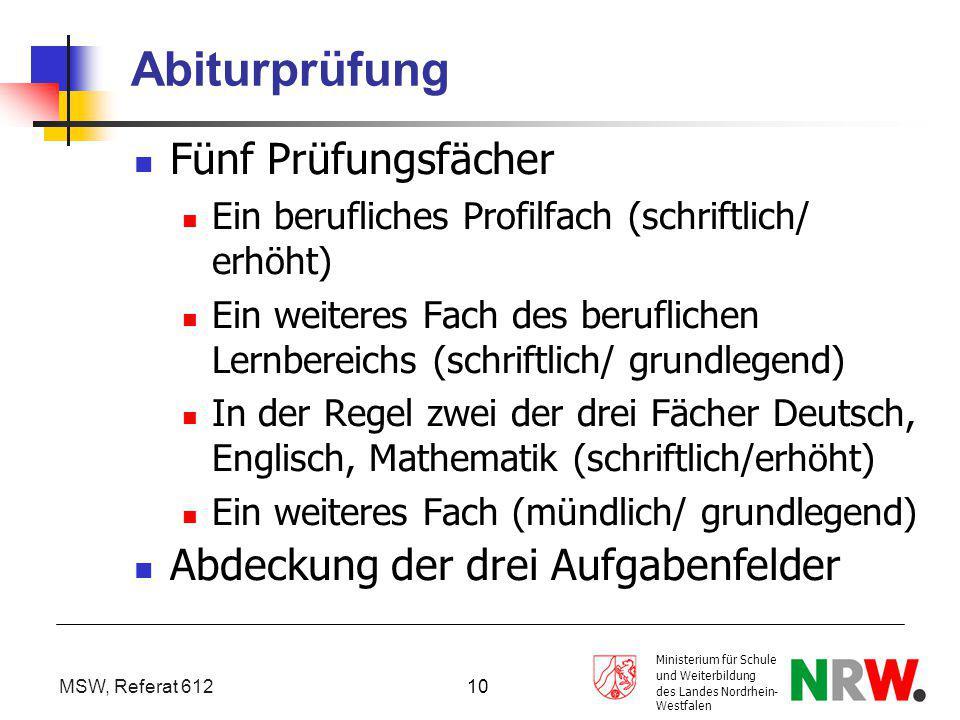 MSW, Referat 612 Ministerium für Schule und Weiterbildung des Landes Nordrhein- Westfalen 10 Abiturprüfung Fünf Prüfungsfächer Ein berufliches Profilf