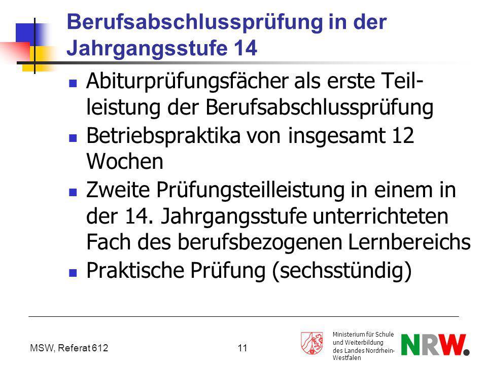 MSW, Referat 612 Ministerium für Schule und Weiterbildung des Landes Nordrhein- Westfalen 11 Berufsabschlussprüfung in der Jahrgangsstufe 14 Abiturprü