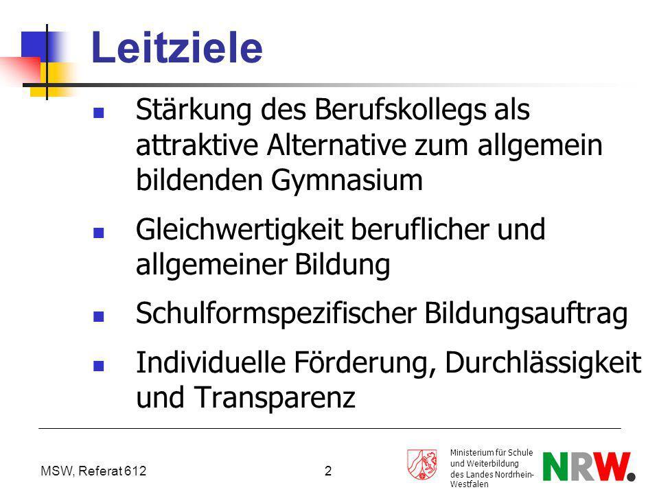 MSW, Referat 612 Ministerium für Schule und Weiterbildung des Landes Nordrhein- Westfalen 2 Leitziele Stärkung des Berufskollegs als attraktive Altern