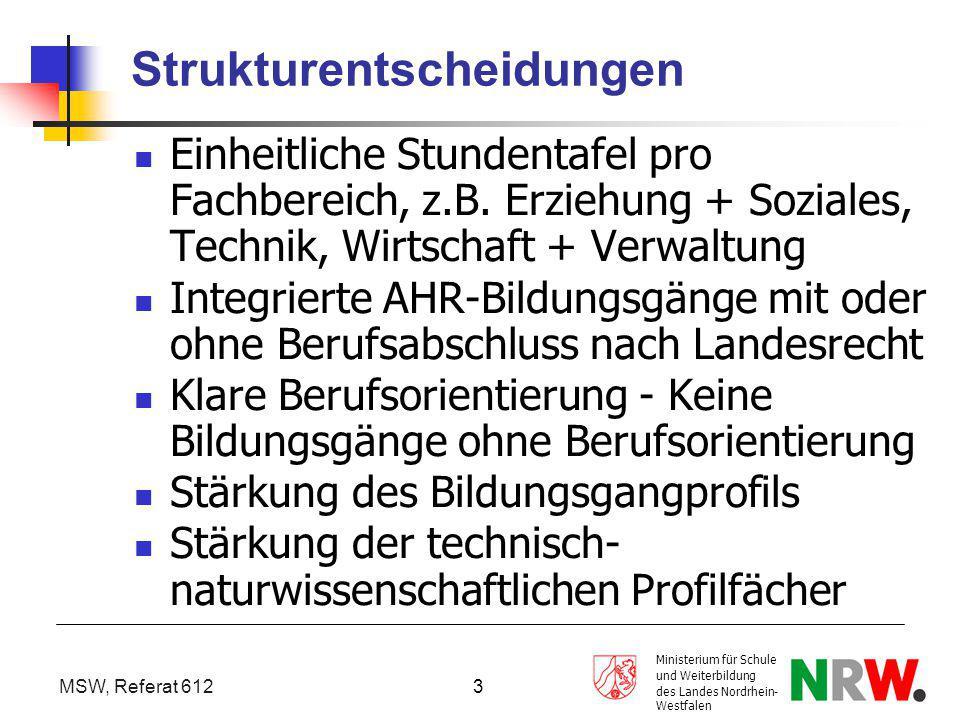 MSW, Referat 612 Ministerium für Schule und Weiterbildung des Landes Nordrhein- Westfalen 3 Strukturentscheidungen Einheitliche Stundentafel pro Fachb