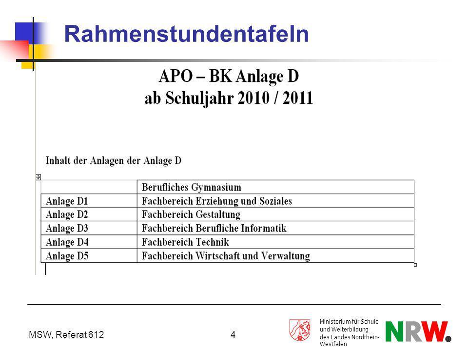 """MSW, Referat 612 Ministerium für Schule und Weiterbildung des Landes Nordrhein- Westfalen 5 Beispiel Rahmenstundentafel """"Wirtschaft + Verwaltung"""