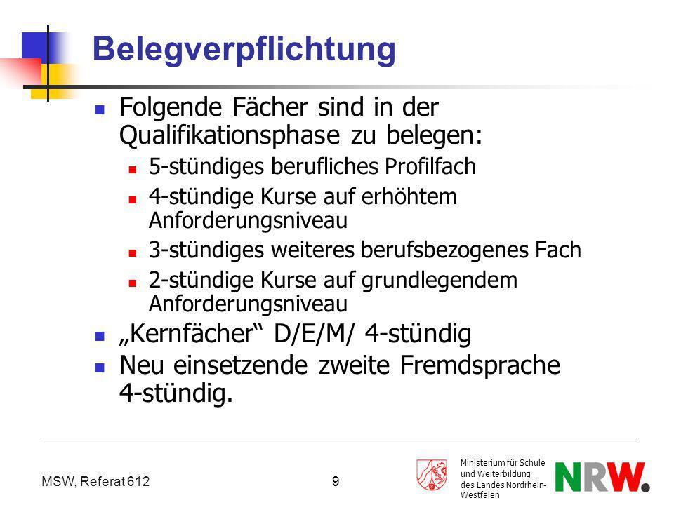 MSW, Referat 612 Ministerium für Schule und Weiterbildung des Landes Nordrhein- Westfalen 9 Belegverpflichtung Folgende Fächer sind in der Qualifikati
