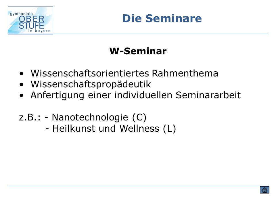 Die Seminare W-Seminar Wissenschaftsorientiertes Rahmenthema Wissenschaftspropädeutik Anfertigung einer individuellen Seminararbeit z.B.: - Nanotechno