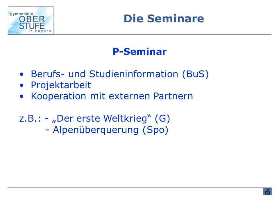 """Die Seminare P-Seminar Berufs- und Studieninformation (BuS) Projektarbeit Kooperation mit externen Partnern z.B.: - """"Der erste Weltkrieg"""" (G) - Alpenü"""