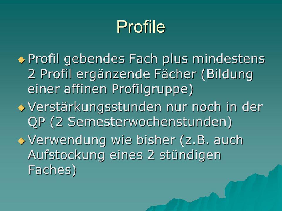 Profile  Profil gebendes Fach plus mindestens 2 Profil ergänzende Fächer (Bildung einer affinen Profilgruppe)  Verstärkungsstunden nur noch in der QP (2 Semesterwochenstunden)  Verwendung wie bisher (z.B.