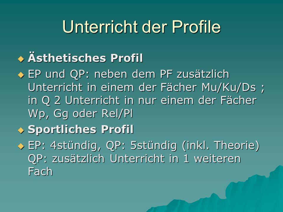 Unterricht der Profile  Ästhetisches Profil  EP und QP: neben dem PF zusätzlich Unterricht in einem der Fächer Mu/Ku/Ds ; in Q 2 Unterricht in nur einem der Fächer Wp, Gg oder Rel/Pl  Sportliches Profil  EP: 4stündig, QP: 5stündig (inkl.