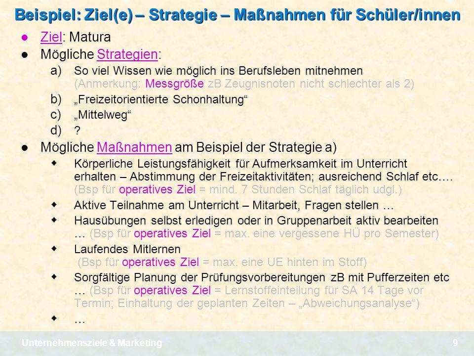 Unternehmensziele & Marketing9 Beispiel: Ziel(e) – Strategie – Maßnahmen für Schüler/innen Ziel: Matura Mögliche Strategien: a) So viel Wissen wie mög