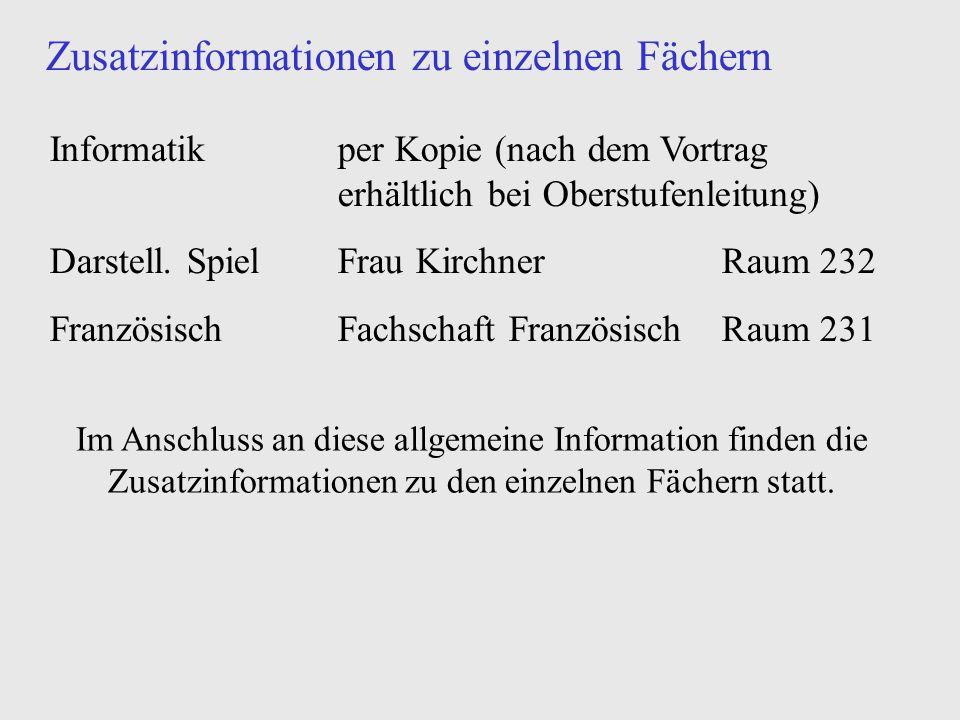 Zusatzinformationen zu einzelnen Fächern Informatikper Kopie (nach dem Vortrag erhältlich bei Oberstufenleitung) Darstell. SpielFrau KirchnerRaum 232