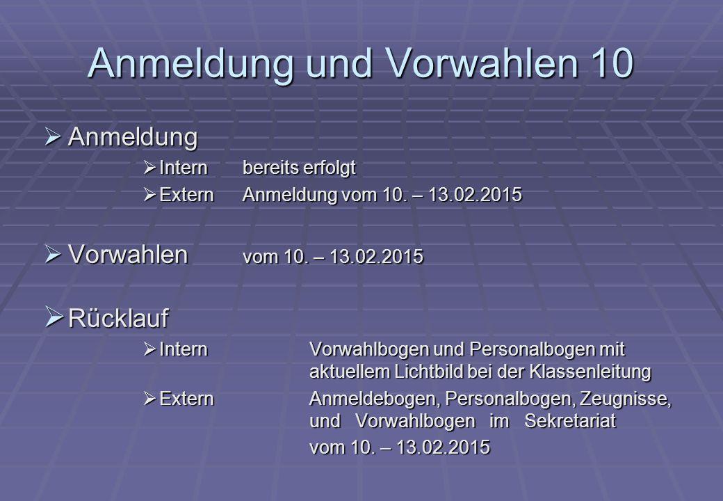 Anmeldung und Vorwahlen 10  Anmeldung  Internbereits erfolgt  Extern Anmeldung vom 10.