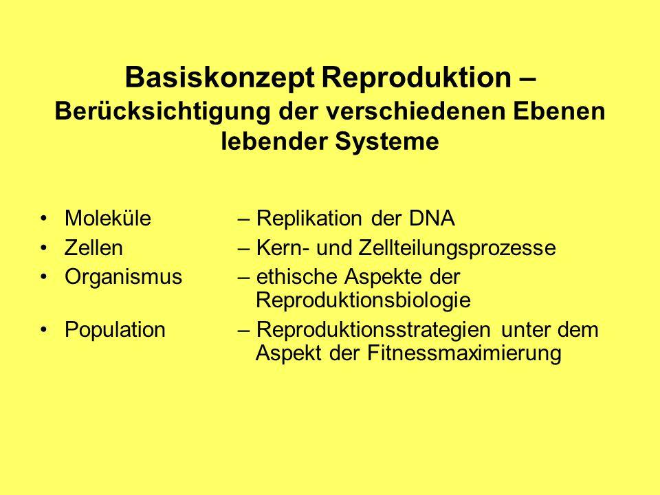 Basiskonzept Reproduktion – Berücksichtigung der verschiedenen Ebenen lebender Systeme Moleküle– Replikation der DNA Zellen– Kern- und Zellteilungsprozesse Organismus – ethische Aspekte der Reproduktionsbiologie Population – Reproduktionsstrategien unter dem Aspekt der Fitnessmaximierung