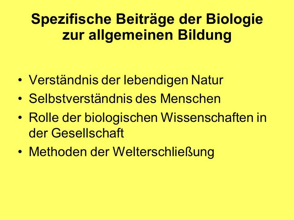 Verständnis der lebendigen Natur Selbstverständnis des Menschen Rolle der biologischen Wissenschaften in der Gesellschaft Methoden der Welterschließung Spezifische Beiträge der Biologie zur allgemeinen Bildung