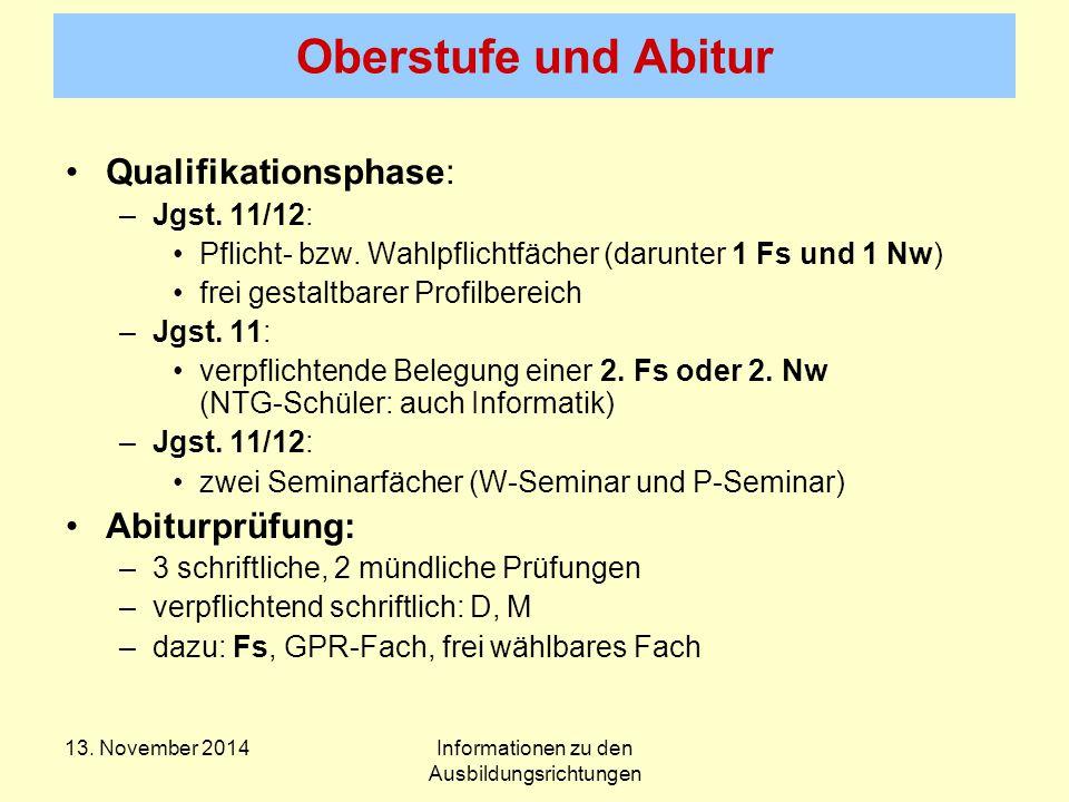 Oberstufe und Abitur Qualifikationsphase: –Jgst. 11/12: Pflicht- bzw.