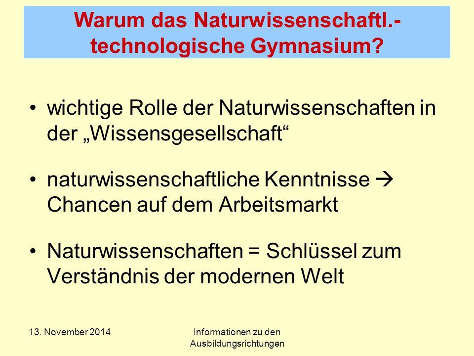 Warum das Naturwissenschaftl.- technologische Gymnasium.