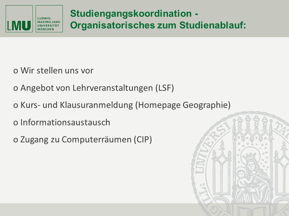 Fakultät für Geowissenschaften Seite 27 Studiengangskoordination - Organisatorisches zum Studienablauf: o Wir stellen uns vor o Angebot von Lehrverans
