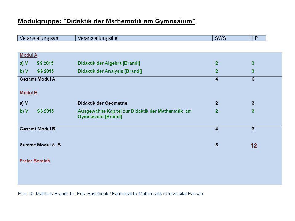 VeranstaltungsartVeranstaltungstitelSWSLP Modul A a) V SS 2015Didaktik der Algebra [Brandl] 2 3 b) V SS 2015Didaktik der Analysis [Brandl] 2 3 Gesamt Modul A 4 6 Modul B a) VDidaktik der Geometrie 2 3 b) V SS 2015Ausgewählte Kapitel zur Didaktik der Mathematik am Gymnasium [Brandl] 2 3 Gesamt Modul B 4 6 Summe Modul A, B 8 12 Freier Bereich Modulgruppe: Didaktik der Mathematik am Gymnasium