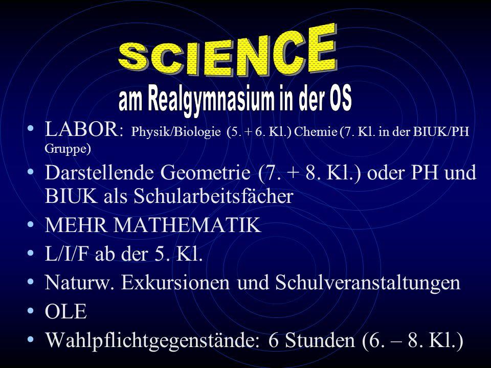 LABOR : Physik/Biologie (5. + 6. Kl.) Chemie (7. Kl. in der BIUK/PH Gruppe) Darstellende Geometrie (7. + 8. Kl.) oder PH und BIUK als Schularbeitsfäch