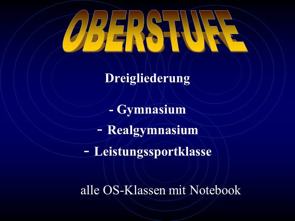 Dreigliederung - Gymnasium - Realgymnasium - Leistungssportklasse alle OS-Klassen mit Notebook