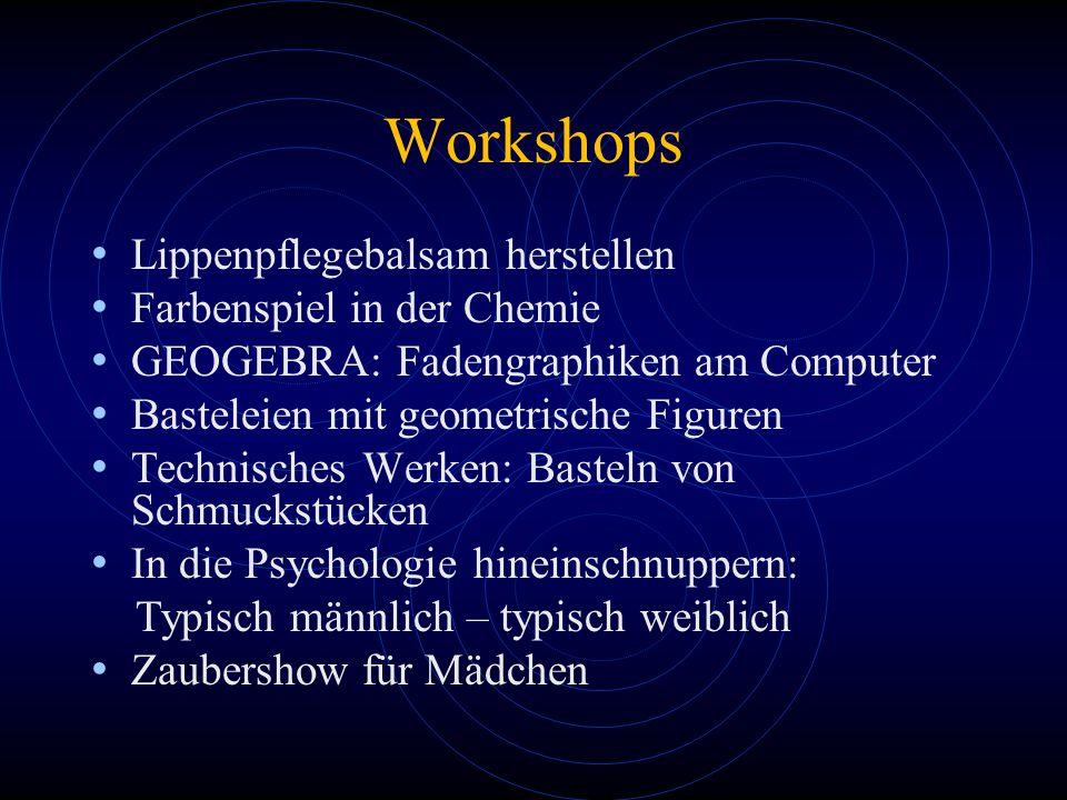 Workshops Lippenpflegebalsam herstellen Farbenspiel in der Chemie GEOGEBRA: Fadengraphiken am Computer Basteleien mit geometrische Figuren Technisches