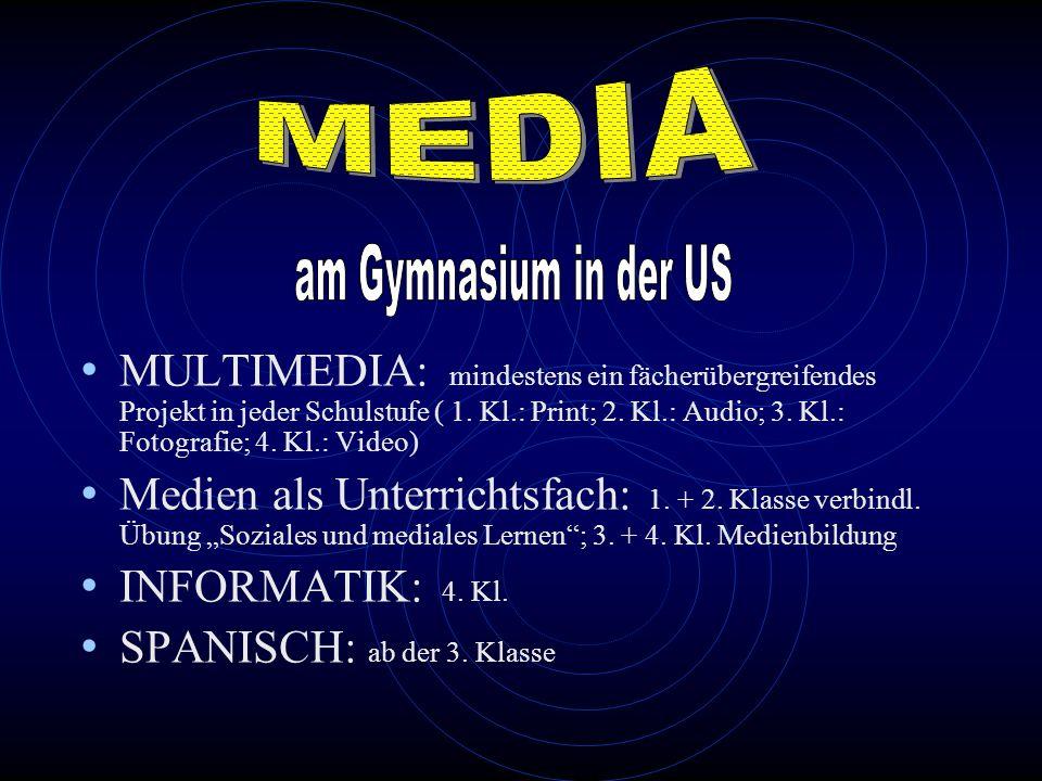 MULTIMEDIA: mindestens ein fächerübergreifendes Projekt in jeder Schulstufe ( 1. Kl.: Print; 2. Kl.: Audio; 3. Kl.: Fotografie; 4. Kl.: Video) Medien