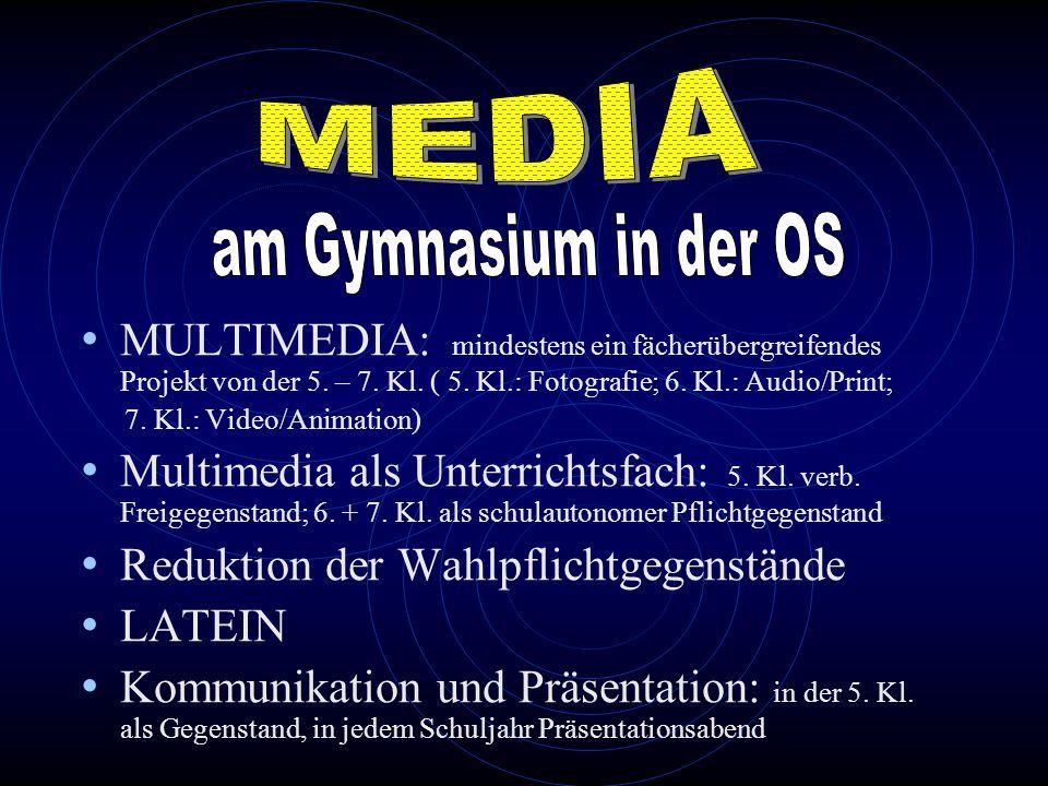 MULTIMEDIA: mindestens ein fächerübergreifendes Projekt von der 5. – 7. Kl. ( 5. Kl.: Fotografie; 6. Kl.: Audio/Print; 7. Kl.: Video/Animation) Multim