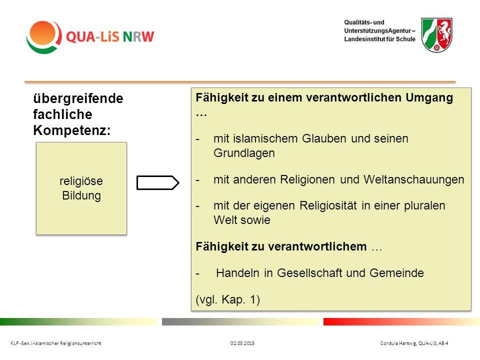 übergreifende fachliche Kompetenz: religiöse Bildung Fähigkeit zu einem verantwortlichen Umgang … -mit islamischem Glauben und seinen Grundlagen -mit