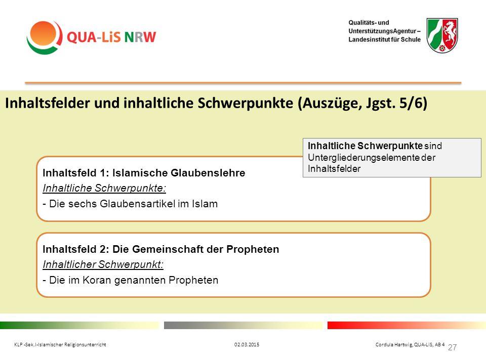 Inhaltsfelder und inhaltliche Schwerpunkte (Auszüge, Jgst. 5/6) KLP -Sek.I-Islamischer Religionsunterricht 02.03.2015 Cordula Hartwig, QUA-LiS, AB 4 2