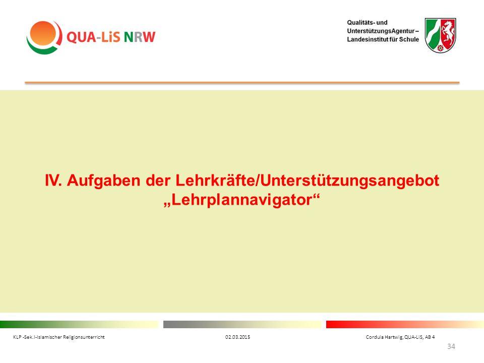 """IV. Aufgaben der Lehrkräfte/Unterstützungsangebot """"Lehrplannavigator"""" KLP -Sek.I-Islamischer Religionsunterricht 02.03.2015 Cordula Hartwig, QUA-LiS,"""