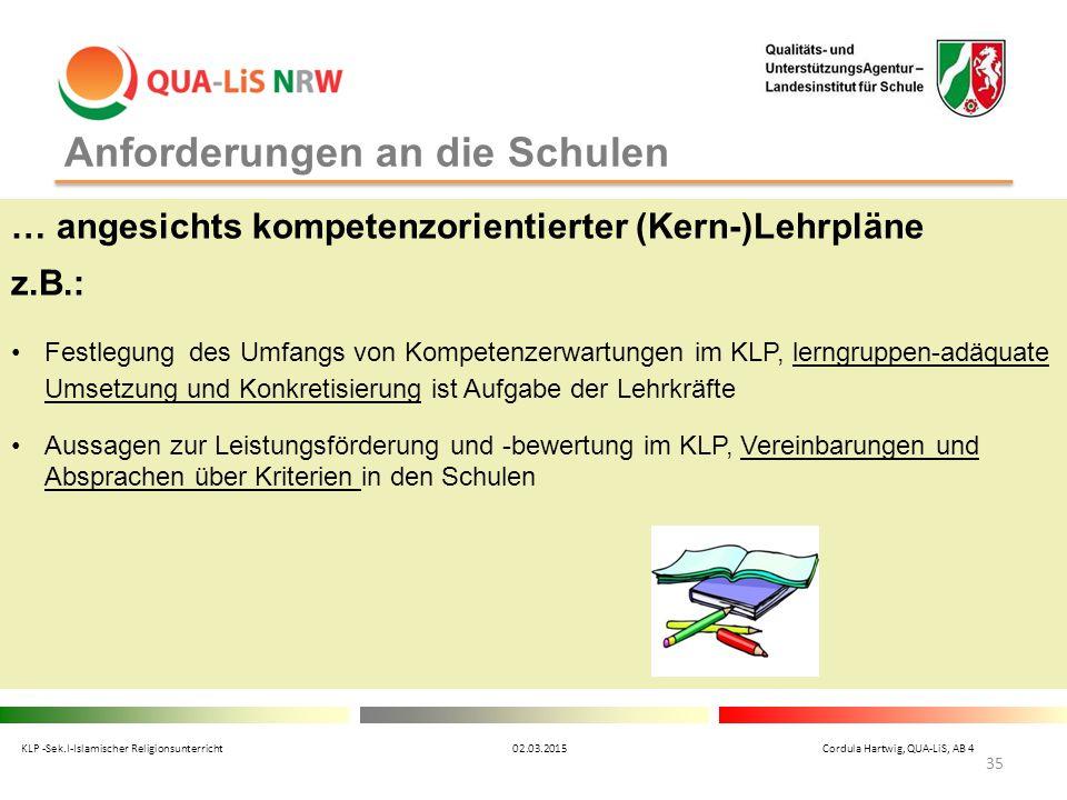 Anforderungen an die Schulen … angesichts kompetenzorientierter (Kern-)Lehrpläne z.B.: Festlegung des Umfangs von Kompetenzerwartungen im KLP, lerngru