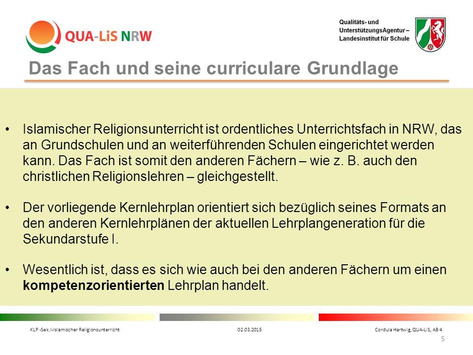 Das Fach und seine curriculare Grundlage Islamischer Religionsunterricht ist ordentliches Unterrichtsfach in NRW, das an Grundschulen und an weiterfüh