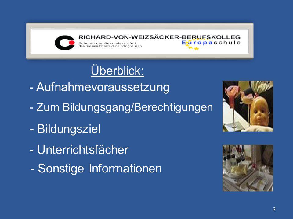 2 Überblick: - Aufnahmevoraussetzung - Zum Bildungsgang/Berechtigungen - Bildungsziel - Unterrichtsfächer - Sonstige Informationen
