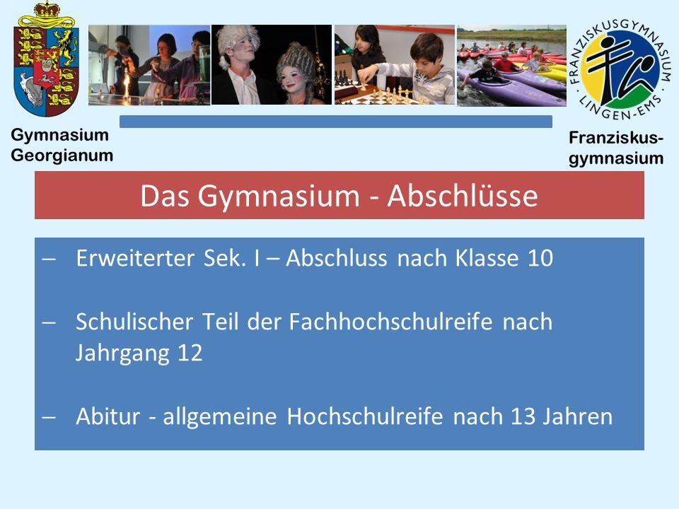 Das Gymnasium - Abschlüsse  Erweiterter Sek.