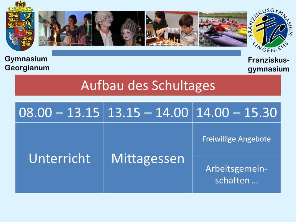 Aufbau des Schultages 08.00 – 13.1513.15 – 14.0014.00 – 15.30 UnterrichtMittagessen Freiwillige Angebote Arbeitsgemein- schaften …