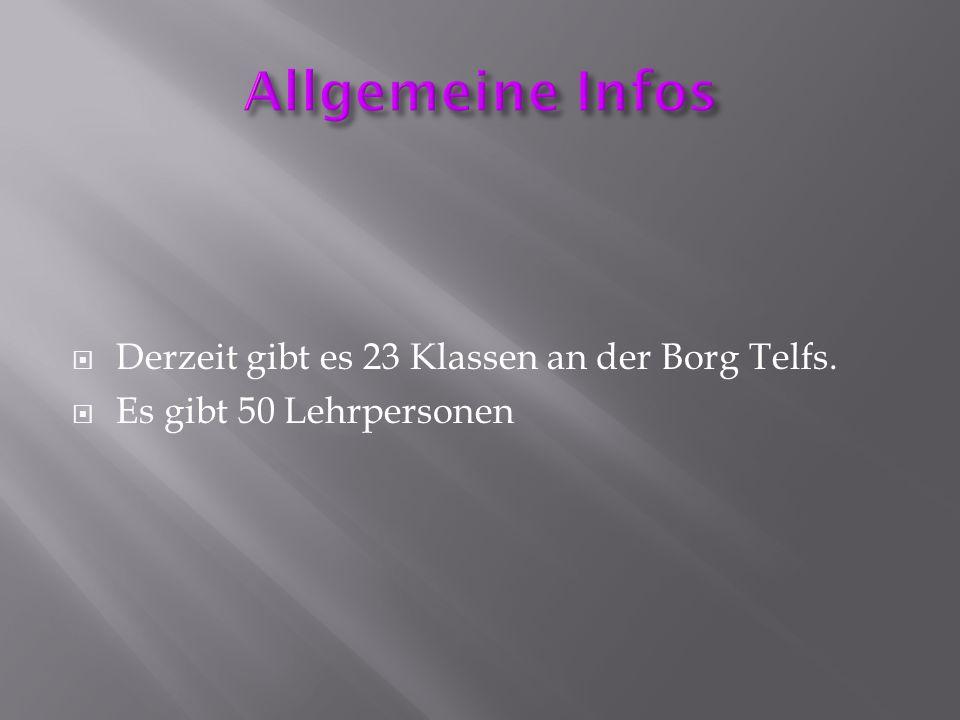  Derzeit gibt es 23 Klassen an der Borg Telfs.  Es gibt 50 Lehrpersonen
