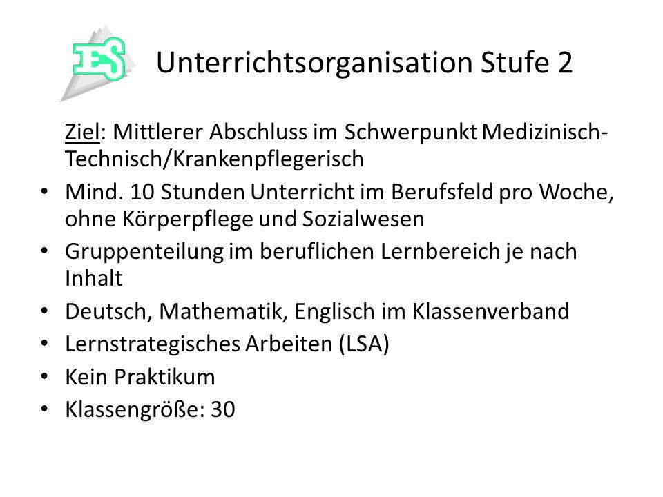 Unterrichtsorganisation Stufe 2 Ziel: Mittlerer Abschluss im Schwerpunkt Medizinisch- Technisch/Krankenpflegerisch Mind. 10 Stunden Unterricht im Beru
