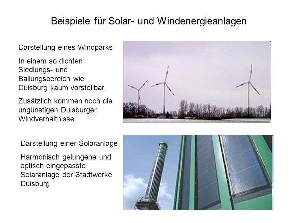 Darstellung eines Windparks In einem so dichten Siedlungs- und Ballungsbereich wie Duisburg kaum vorstellbar. Zusätzlich kommen noch die ungünstigen D