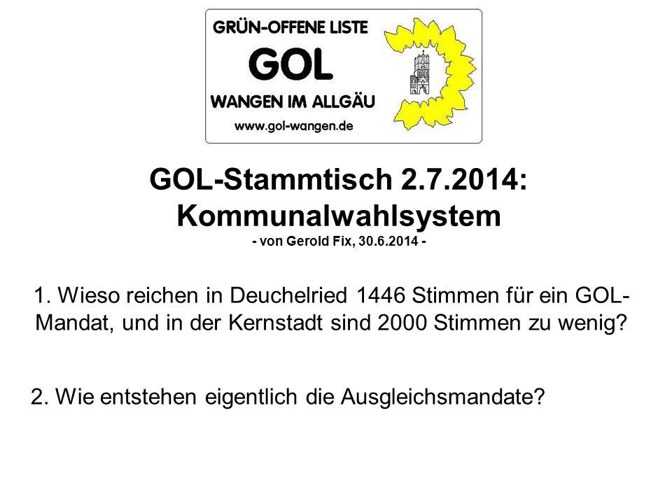 GOL-Stammtisch 2.7.2014: Kommunalwahlsystem - von Gerold Fix, 30.6.2014 - 1.