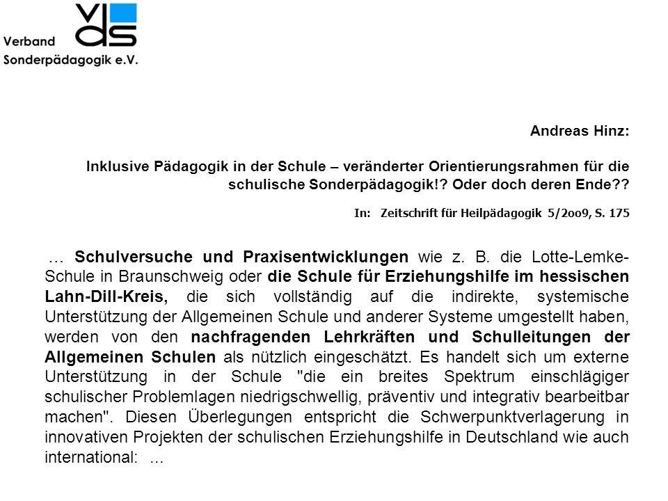 Andreas Hinz: lnklusive Pädagogik in der Schule – veränderter Orientierungsrahmen für die schulische Sonderpädagogik!? Oder doch deren Ende?? In: Zeit