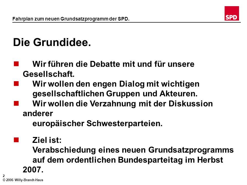 1 © 2006 Willy-Brandt-Haus Kraft der Erneuerung. Fahrplan zum neuen Grundsatzprogramm der SPD. Soziale Gerechtigkeit für das 21. Jahrhundert.