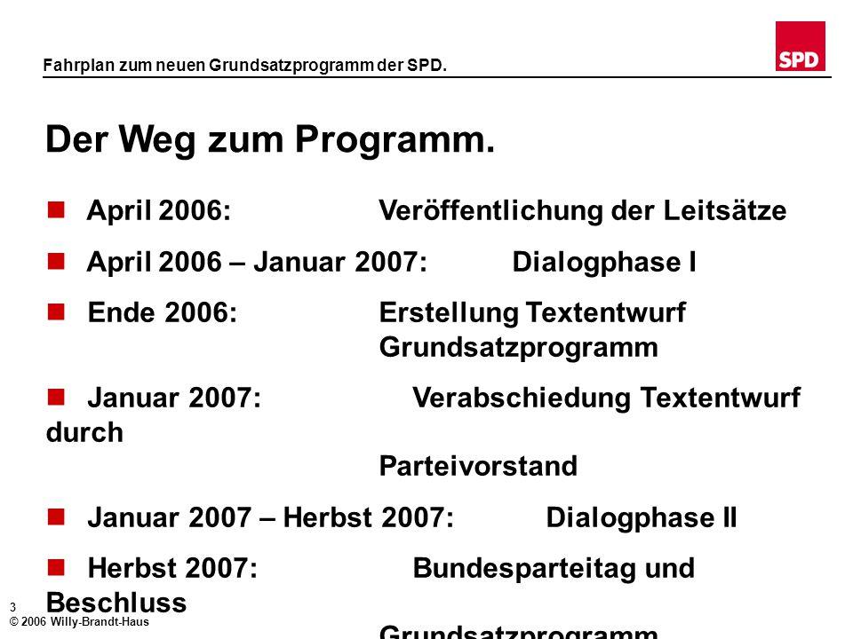 2 © 2006 Willy-Brandt-Haus Fahrplan zum neuen Grundsatzprogramm der SPD. Die Grundidee. Wir führen die Debatte mit und für unsere Gesellschaft. Wir wo
