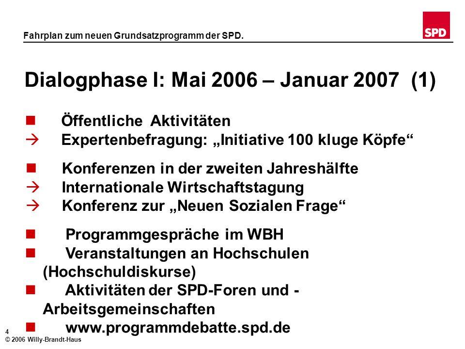 3 © 2006 Willy-Brandt-Haus Fahrplan zum neuen Grundsatzprogramm der SPD. Der Weg zum Programm. April 2006: Veröffentlichung der Leitsätze April 2006 –