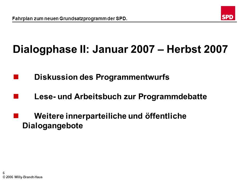 5 © 2006 Willy-Brandt-Haus Fahrplan zum neuen Grundsatzprogramm der SPD. Dialogphase I: Mai 2006 – Januar 2007 (2) Innerparteiliche Maßnahmen  Arbeit