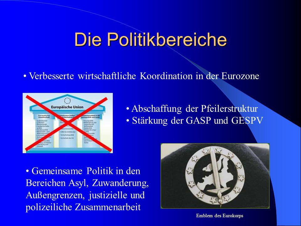 Die Politikbereiche Verbesserte wirtschaftliche Koordination in der Eurozone Emblem des Eurokorps Abschaffung der Pfeilerstruktur Stärkung der GASP un