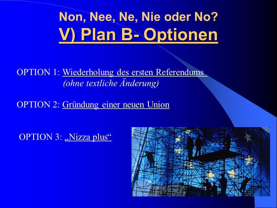 V) Plan B- Optionen Non, Nee, Ne, Nie oder No? V) Plan B- Optionen OPTION 1: Wiederholung des ersten Referendums (ohne textliche Änderung) OPTION 2: G