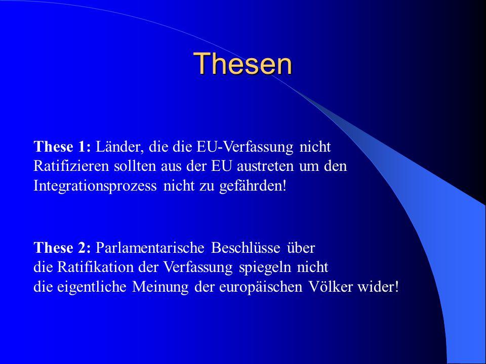 Thesen These 1: Länder, die die EU-Verfassung nicht Ratifizieren sollten aus der EU austreten um den Integrationsprozess nicht zu gefährden.