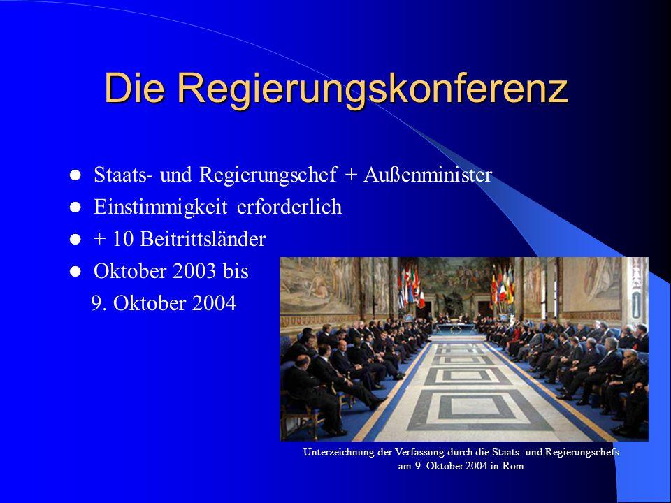 Die Regierungskonferenz Staats- und Regierungschef + Außenminister Einstimmigkeit erforderlich + 10 Beitrittsländer Oktober 2003 bis 9. Oktober 2004 U