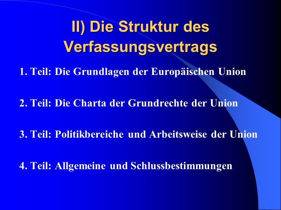 II) Die Struktur des Verfassungsvertrags 1. Teil: Die Grundlagen der Europäischen Union 2. Teil: Die Charta der Grundrechte der Union 3. Teil: Politik