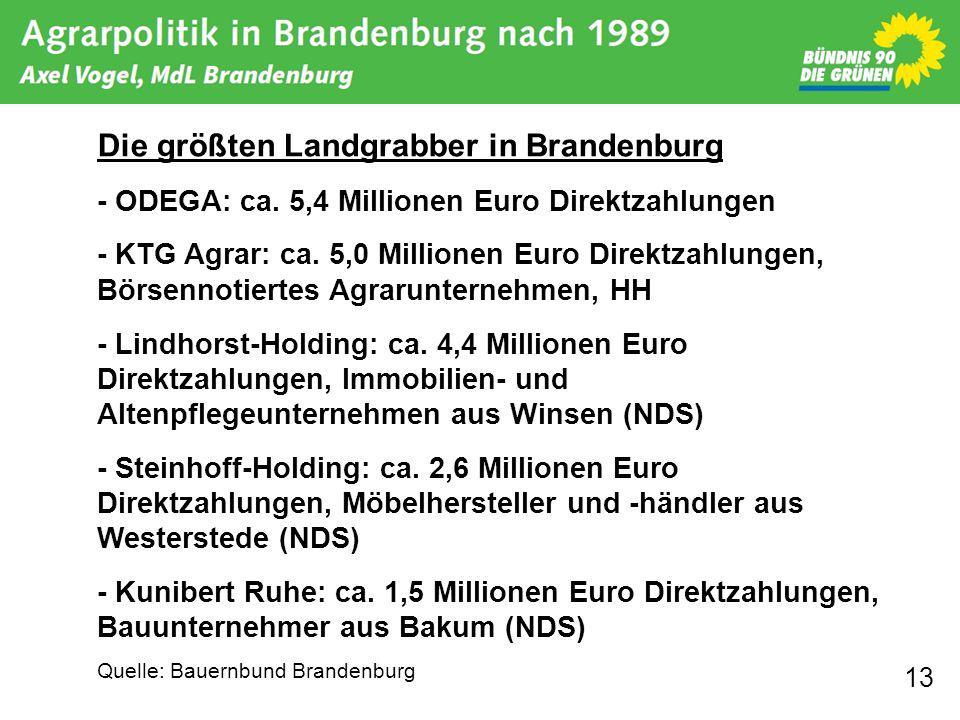 13 Die größten Landgrabber in Brandenburg - ODEGA: ca. 5,4 Millionen Euro Direktzahlungen - KTG Agrar: ca. 5,0 Millionen Euro Direktzahlungen, Börsenn