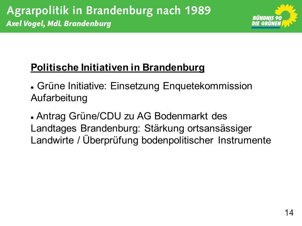 14 Politische Initiativen in Brandenburg Grüne Initiative: Einsetzung Enquetekommission Aufarbeitung Antrag Grüne/CDU zu AG Bodenmarkt des Landtages B