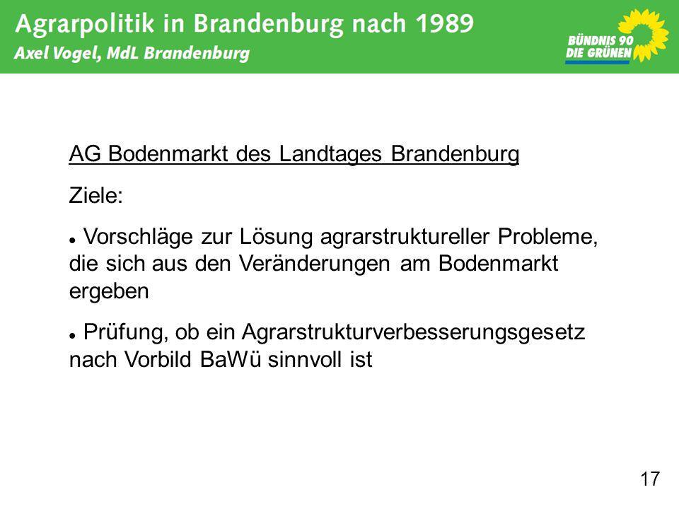 17 AG Bodenmarkt des Landtages Brandenburg Ziele: Vorschläge zur Lösung agrarstruktureller Probleme, die sich aus den Veränderungen am Bodenmarkt ergeben Prüfung, ob ein Agrarstrukturverbesserungsgesetz nach Vorbild BaWü sinnvoll ist